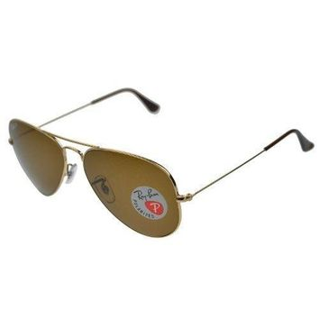 Ray Ban Sunglasses Rb3025 Aviator Large Metal / Frame: Gold Lens: Crystal Brown Polarized (58mm)