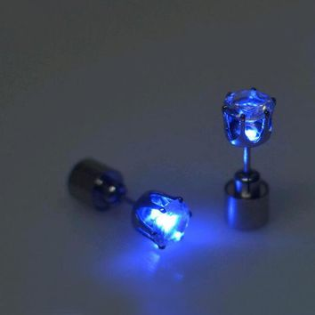 FAMSHIN Hot Sale 1 PCS The Charm of the LEDs Light up to Crown a Glowing Crystal Stainless Ear Drops Ear Earring Jewelry 2019