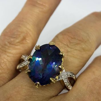 Vintage genuine mystic blue topaz 925 sterling silver Ring