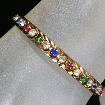 Art Deco Rhinestone Bangle Bracelet Multi Color Glass Stones Gold Tone Setting Prong Set Classic Style Arm Party, Costume Jewellery 318