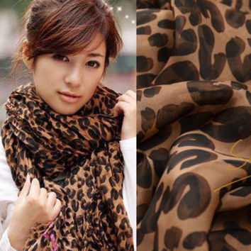 New Style Fashion Womens Girl's Long Leopard Shawl Scarf Wrap Stole Lady Cotton