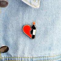 Retro Punk Red & Black Enamel Broken Heart Bottle Brooch Pins 2 PCS