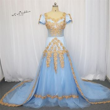 Moroccan Kaftan Blue Gold Lace Applique Elegant Prom Dresses Long 2018 Muslim Evening Dress with Sleeve Beads Formal Party Gowns