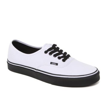 Vans Authentic Black Sole Shoes - Mens Shoes - White