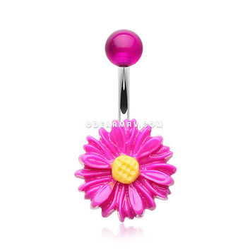 Adorable Daisy Belly Button Ring (Purple)