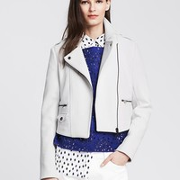 Banana Republic Womens White Cropped Moto Jacket