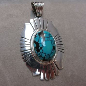 ZUNI STERLING SILVER  RRG RONNIE & RAMIL GLODOVE LARGE TURQUOISE PENDANT