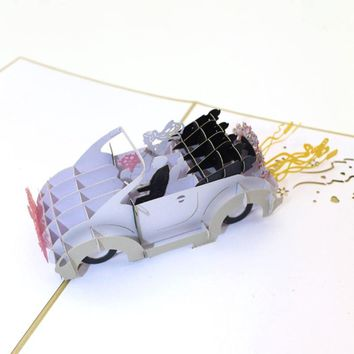Wedding Car Valentine Anniversary Invitation Cards 3D Pop Up Greeting Card Paper Laser Cut Postcards Souvenirs Paper Craft
