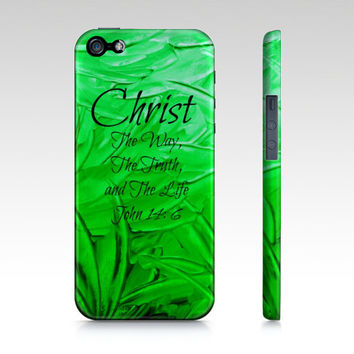 CHRIST The Way The Truth and The Life iPhone 4 4s 5 5s 5c 6 Case Samsung Galaxy s3 s4 s5 Case Lime Neon Green Abstract Scripture Bible Verse