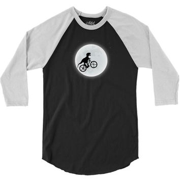 Dinosaur Riding A Bike To The Moon 3/4 Sleeve Shirt