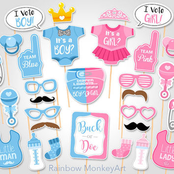 Gender Reveal Baby Shower Photo Props  - Buck or Doe Baby Printable Photobooth Props - Little Man or Little Lady Props