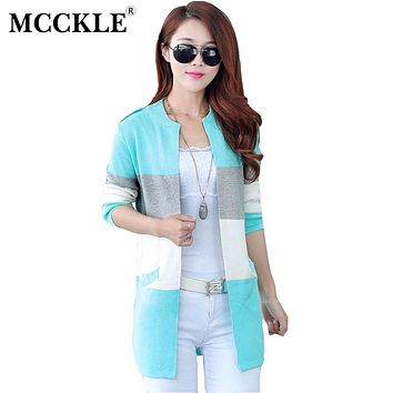 MCCKLE Spring And Autumn Long Knitting Cardigan Female Spell Color Stripe O Neck Slim Thin Coat Plus Size Sweater For Women