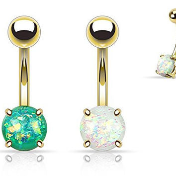 (2pcs) Gold Plated Opal Glitter Prong Set Belly Navel Rings 14g White and Green