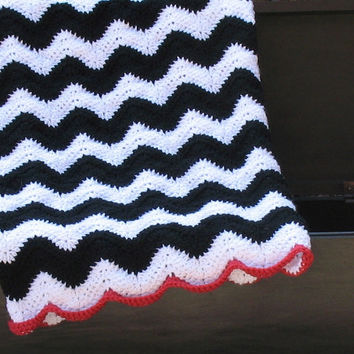 Black / White / Pink Chevron Baby Blanket, Perfect for Baby Showers, Cribs, Carseats, Strollers, Chevron Theme, Ready to Ship