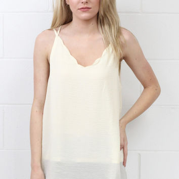 Strappy Satin Side Slit Tanks {Cream}