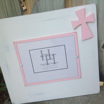 "Picture frame - Distressed wood - Recycled wood - Cross frame - Nursery frame - Holds 8""x10"" photo - Baby girl - white and pink"