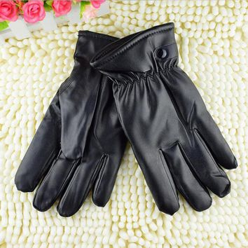 Fashion New Men Women Mittens Warm Leather Male Winter Gloves Super Driving Waterproof Black Guantes G164