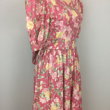 Floral Dress Victorian Romantic V Back Dress Garden Party Pink Dress Puff Sleeves Cotton Laura Ashley Size 8 Dress Medium Womens Clothing