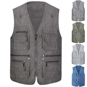 CALOFE Autumn Outdoor Zipper Men Sport Fishing Vest Breathable Jacket Waistcoat Survival Utility Sport Vest Backpack Overalls