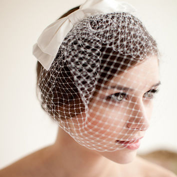 Birdcage Veil with Silk Bow, Blusher Veil, Silk Bow, Wedding Veil, Small Birdcage Veil, Mini Veil - Audrey MADE TO ORDER