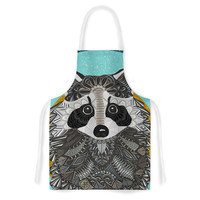 "Art Love Passion ""Racoon in Grass"" Gray Teal Artistic Apron"