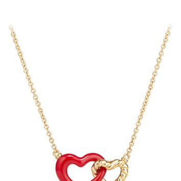 David Yurman Double Heart Pendant Necklace with Red Enamel and 18K Gold | Nordstrom
