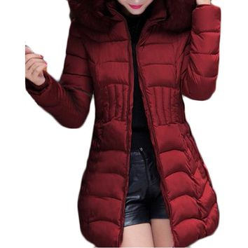 2017 New Long Parkas Women Winter Coat Thicken Female Cotton Jacket Faux Fur Collar Womens Puffer Coats Overcoat Plus Size 4XL