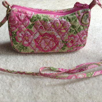 Vera Bradley Petal Pink Small Long Strap Side Purse- Clutch, Makeup Bag, Perfect Condition, Quilted, Preppy, Leopard