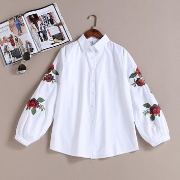 2017 New Arrival Spring Women Casual Cotton White Blouse Shirts Lady Long Sleeve Rose Floral Embroidered Shirt Female