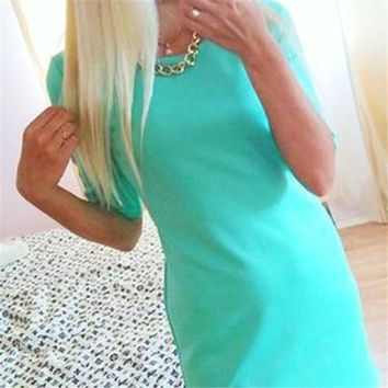 Women Summer Style Half Sleeve Mini Dress S-XL Costume Casual Slim Party Dress Clothes Top