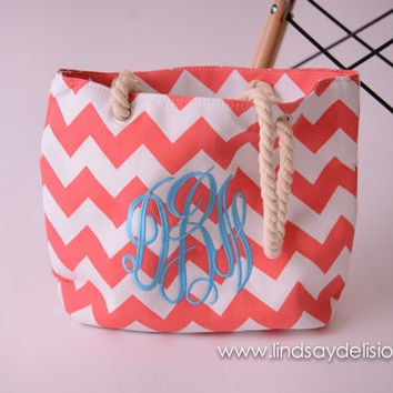 Beach Tote Bag - Monogrammed Tote Bag - Personalized Tote Bag - Personalized Custom Bag - Monogrammed Bag - Beach Bag - Travel Tote -- sale