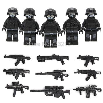Hot Sale 5pcs/lot SWAT Ghost Soldier Military Figure Set Weapon Gun Legoingly Building Blocks Sets Models Bricks Toys
