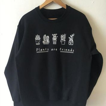 Plants Are Friends Long Sleeved Letter Printing Sweater