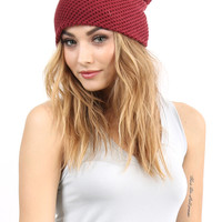Textured Knit Beanie - Burgundy