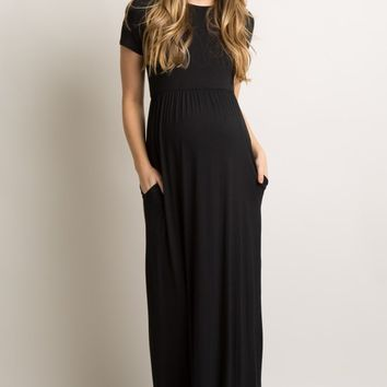Black Solid Side Pocket Maternity Maxi Dress