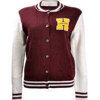 ZLYC Women's Letter H Knitted Bomber Jacket Slim fit Baseball Jacket