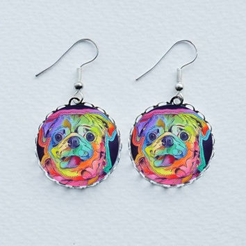 Pug Earrings - Pug Jewellery - Pug Jewelry - Wearable Art - Pug Pendant - Pug Necklace - Gifts For Pug Lovers - Pug Art - Doggy Earrings
