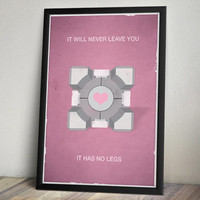 Portal Inspired Vintage Poster - Companion Cube