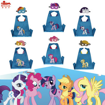 L27* my little pony satin fabric cape set for birthday party costume Christmas gifts cosplay costume for kids