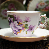 Royal Vale Vintage Teacups - Tea Cup and Saucer - Beautiful Violets on White 10761