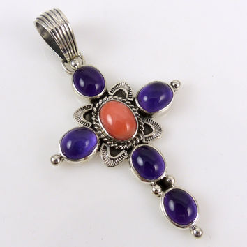 Amethyst and Coral Cross Pendant