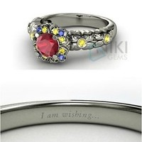 925 Sterling Silver Disney inspired Snow White Princess Engagement Rings with CZ