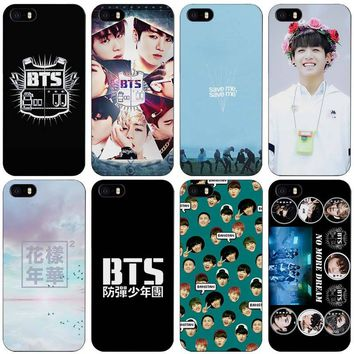 Bangtan BTS Boys Black Plastic Case Cover Shell for iPhone Apple 4 4s 5 5s SE 5c 6 6s 7 Plus
