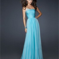 Elegant Strapless Pleated Bodice Beading Outline The Bust Chiffon Prom Dress PD1779