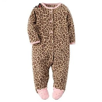 Baby Rompers With Foot Leopard Fleece Romper For Baby Girl Boys Infant Winter Romper Jumpsuit Autumn Winter Baby Clothing