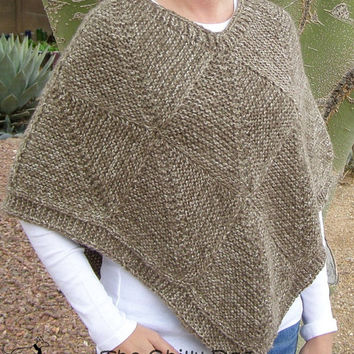 Subtle Striped Squares Poncho PDF Pattern - Easy to knit blocked design in neutral color