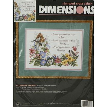 Flowery Verse - Stamped Cross Stitch Kit - Dimensions