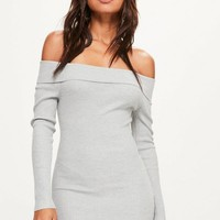 Missguided - Grey Ribbed Bardot Mini Knitted Sweater Dress