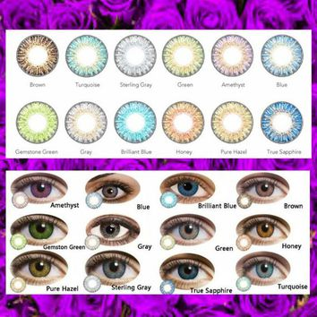 Color Contact Lenses -w- Handmade Beaded Shear Organza Contact Lens Case Travel Storage Bag, Eye Color Enhancer, 3-Tone Fancytone, Eye Makup