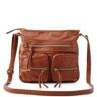 Cognac Washed Faux Leather Cross-Body Bag by Charlotte Russe